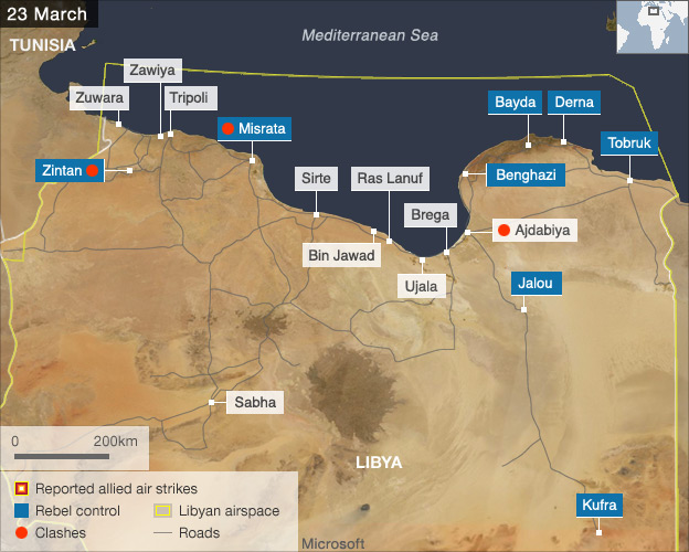Map showing fighting in Libya