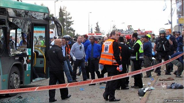 Jerusalem bomb blast site