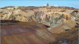 Old mines works on Parys Mountain