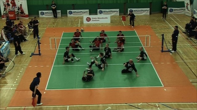 Great Britain play sitting volleyball