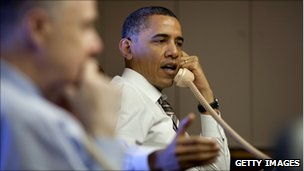US President Barack Obama leading a telephone briefing on the current situation in Libya