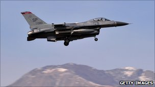 A US F16 jet fighter landing at the Aviano air base in northern Italy
