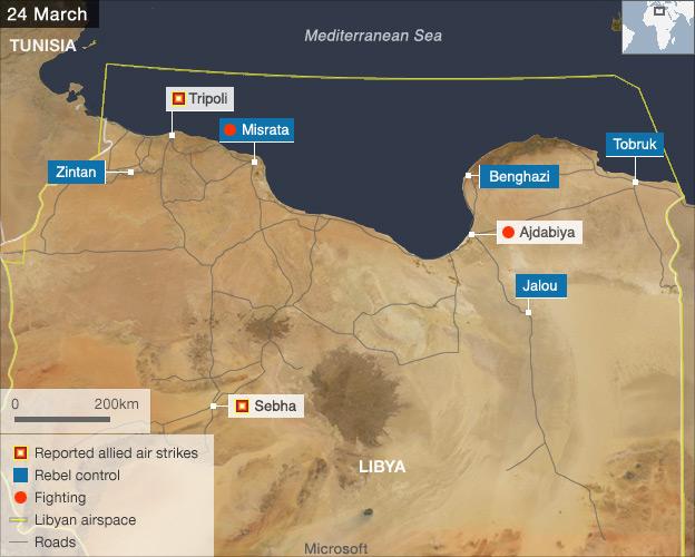 Libya map 24 March 2011