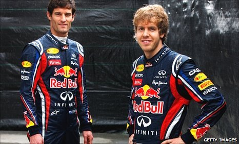 Sebastian Vettel (right) and Mark Webber