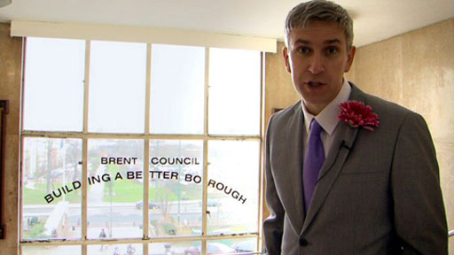 Panorama Reporter Richard Bilton posing as a wedding tv reporter