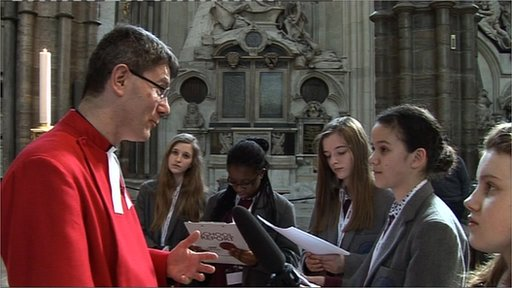School Reporters from Grey Coats Hospital talk to the Canon of Westminster
