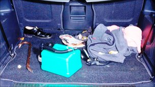 Crowbar in the boot of Delroy Grant's Zafira which he had used to enter a house