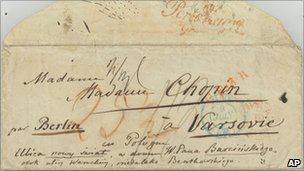Envelope of a letter written by Frederic Chopin