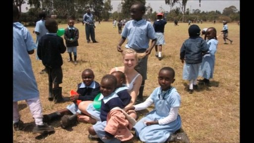 One of the students in Nigeria with some orphans