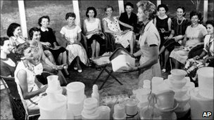 Women gather at a Tupperware home party in 1958