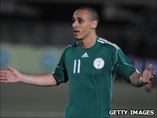 Osaze Odemwingie in action for Nigeria in 2011