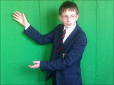Josh, the weatherman at Dr Challoner's Grammar School, Amersham