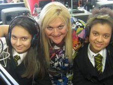 School Reporters in the studio with Vanessa
