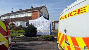 A police tent outside an address in Ashbury Avenue