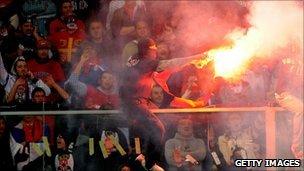 Serbian fans flare