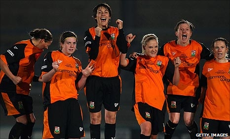 Barnet celebrate a penalty in the shoot-out against Nottingham Forest