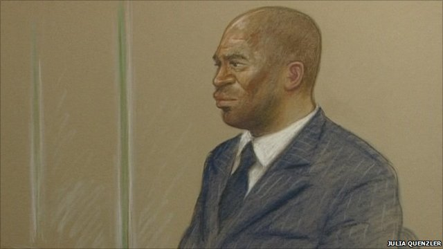 "Court drawing of Delroy Grant, known as ""The Night Stalker"""