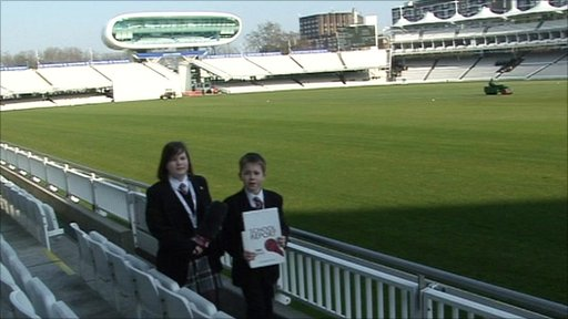 School Reporters Maisie and Tom inside Lord's