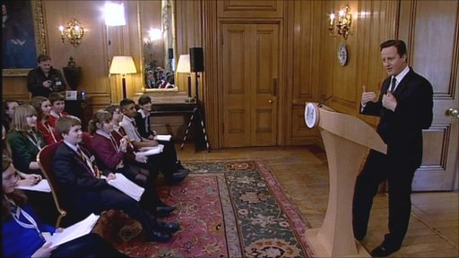 Prime Minister David Cameron takes questions from 30 School Reporters in a special news conference at 10 Downing St