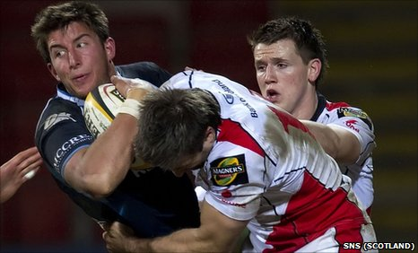 Glasgow Warriors' DTH van der Merwe is tackled by Ulster's Simon Danielli