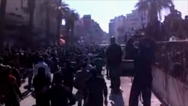 Protest crowd reportedly in Syria