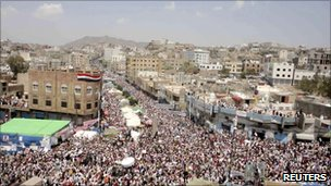 Anti-government protesters, demanding the resignation of Yemeni President Ali Abdullah Saleh, attend a rally in the southern city of Taiz March 25, 2011