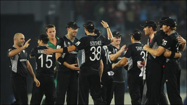New Zealand's players celebrate their World Cup quarter-final win over South Africa