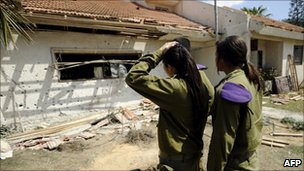 Rocket damage in Israeli village of Sde Avraham, 26 Mar
