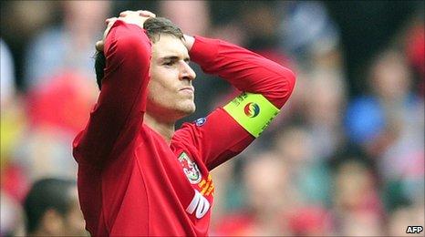 New Wales captain Aaron Ramsey cut a dejected figure