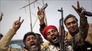 Libyan rebels in Al-Egila, east of Ras Lanuf (27 March)
