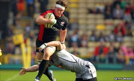 Saracens' Andy Saull is tackled