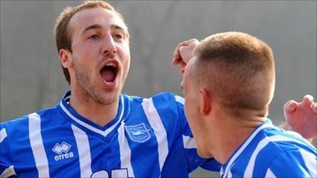 Glenn Murray of Brighton celebrates after scoring  against Swindon