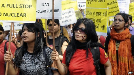 Demo against nuclear power in New Delhi in 2011
