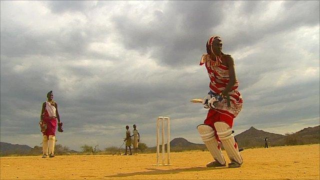 Playing cricket in Kenya