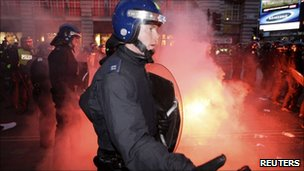 Police clashed with violent groups at several flashpoints in central London