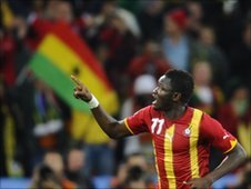 Sulley Muntari celebrates scoring for Ghana