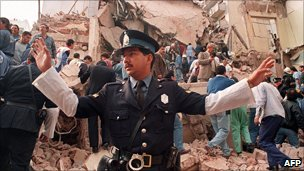 The Jewish community centre Amia, in Buenos Aires, Argentina, after being bombed on 18 July 1994