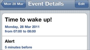 iPhone alarm screen