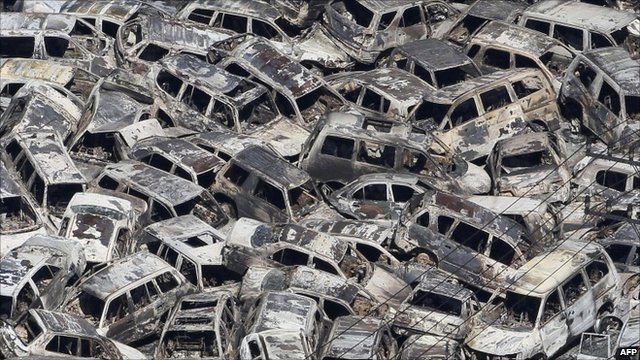 A pile of cars damaged by the tsunami in Japan