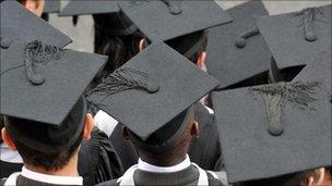 Graduates wearing mortarboard hats