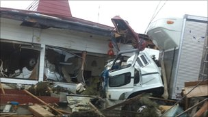 Some of the damage in Ishinomaki near Sendai, Japan