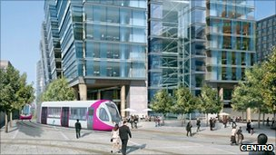 Artist impression of tram on new extension