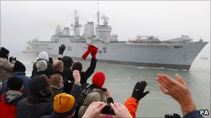 Well-wishers welcome HMS Ark Royal back to Portsmouth (3 Dec 2010)