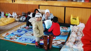 Mr Fuadi&#039;s family in an evacuation centre