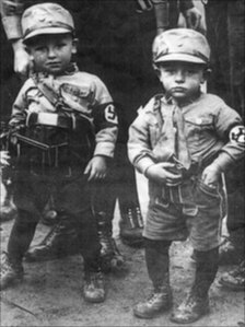 Boys in Nazi regalia
