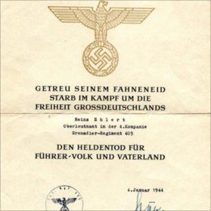 Nazi certificate