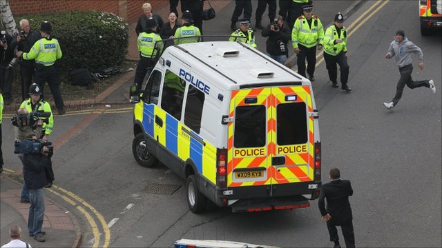 A police van drives Christopher Halliwell into Swindon Magistrates