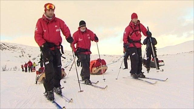Servicemen on skis