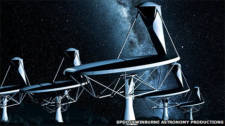 An artist&#039;s impression of the Square Kilometre Array (SKA) at night