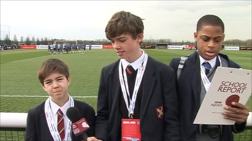 School Reporters at the England training camp